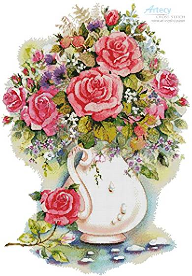 cross stitch pattern Pink Floral Arrangement 2