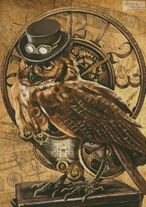 Steampunk Owl Cross Stitch Pattern Owl