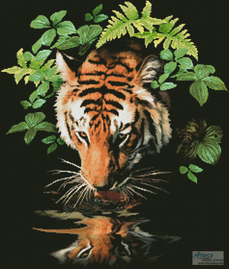 cross stitch pattern Tiger Reflection
