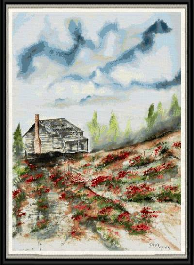 cross stitch pattern Barn and Flowers