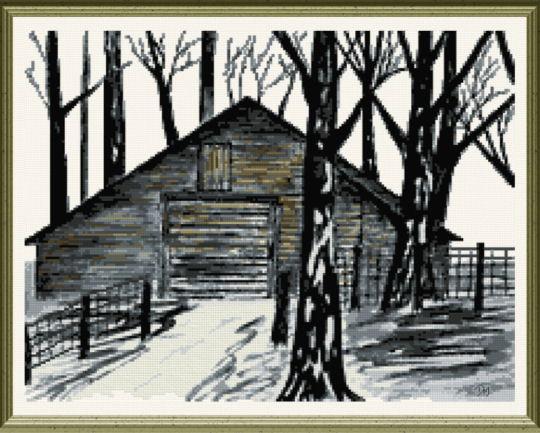 Country Barn Cross Stitch Pattern Arts