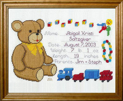 Teddy Bear Baby Announcement Cross Stitch Pattern birthday – Baby Birth Announcement Cross Stitch Patterns