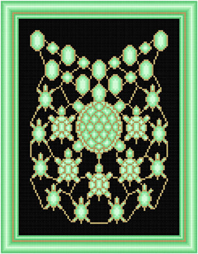 cross stitch pattern Peridot and Gold Turtles
