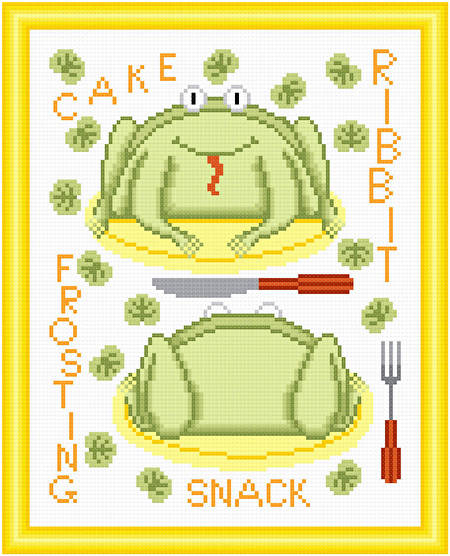 cross stitch pattern Cakes as Critters - Frog