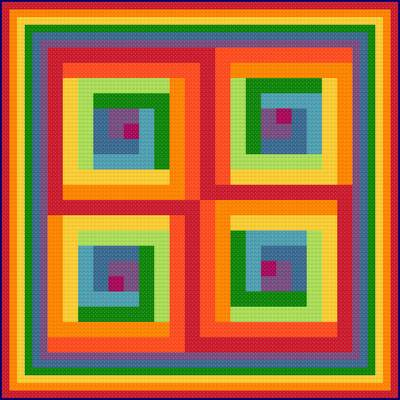 Psychedelic Rainbow Cross Stitch Pattern Whimsy