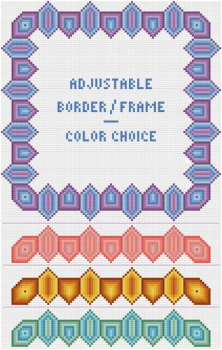cross stitch pattern Shaded Adjustable Border / Frame