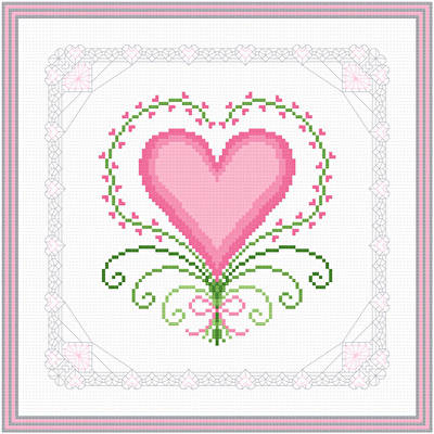 cross stitch pattern Hearts and Lace - Fancy