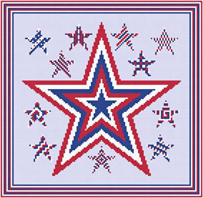 Patriotic Stars Cross Stitch Pattern Quilts