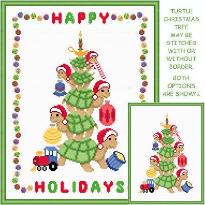 Turtle Christmas Tree Cross Stitch Pattern turtle
