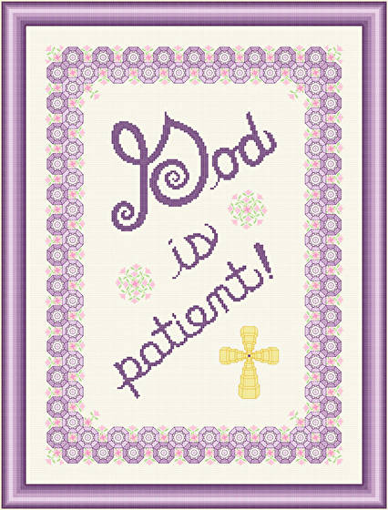 cross stitch pattern God Is Patient - Pink Flowers