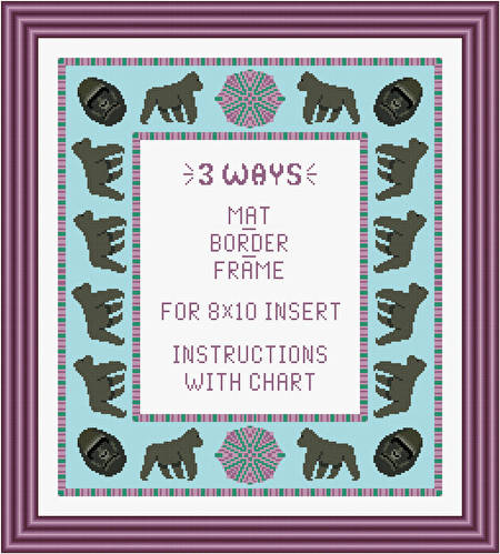 cross stitch pattern Gorilla Mat/Border/Frame for 8x10 insert