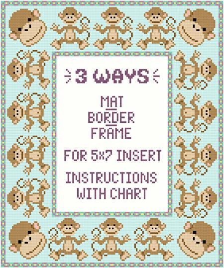 Monkey Mat Border Frame For 5x7 Insert Cross Stitch
