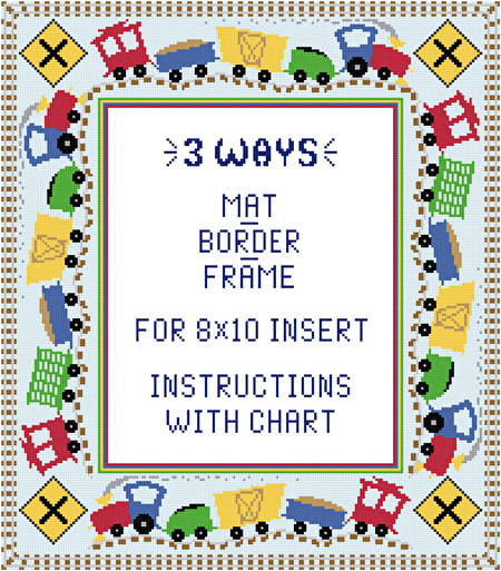 Train Mat Border Frame For 8x10 Insert Cross Stitch