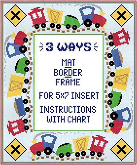 Train Mat Border Frame For 5x7 Insert Cross Stitch Pattern