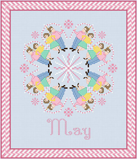 cross stitch pattern May - May Pole Dancing