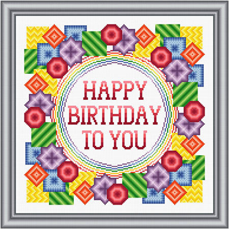 Happy Birthday - Bold Cross Stitch Pattern birthday
