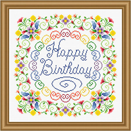 Happy Birthday Flowery Cross Stitch Pattern Birthday
