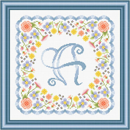 cross stitch pattern Monogram in Flowers - A