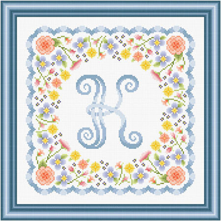 cross stitch pattern Monogram in Flowers - K
