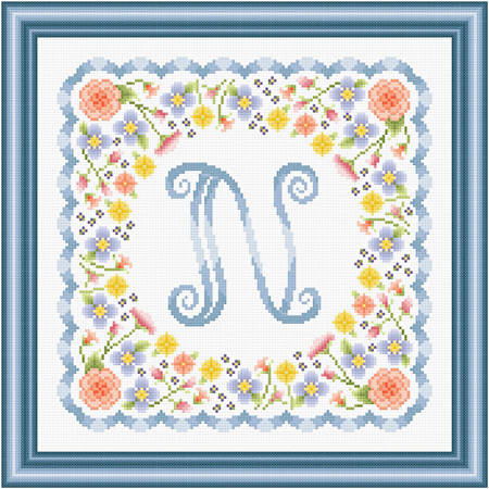 cross stitch pattern Monogram in Flowers - N