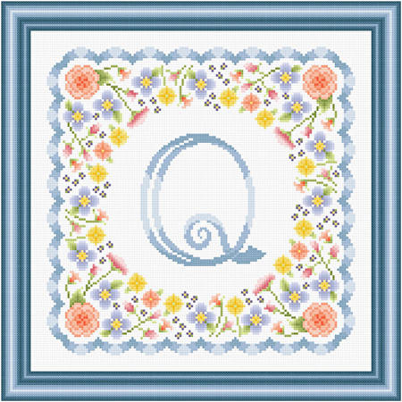 cross stitch pattern Monograms in Flowers - Q
