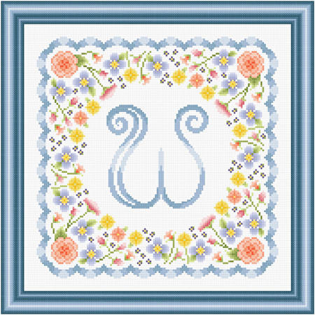 cross stitch pattern Monogram in Flowers - W