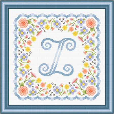 cross stitch pattern Monogram in Flowers - Z