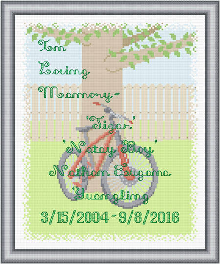cross stitch pattern In Loving Memory - Bicycle