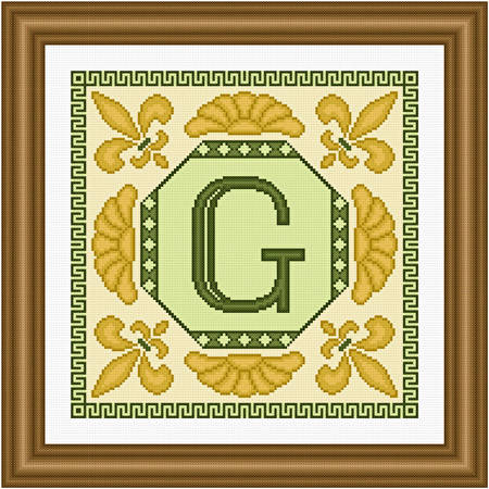 cross stitch pattern Classic Monogram - G