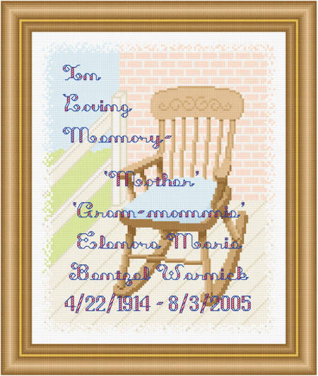 cross stitch pattern In Loving Memory - Padded Rocking Chair