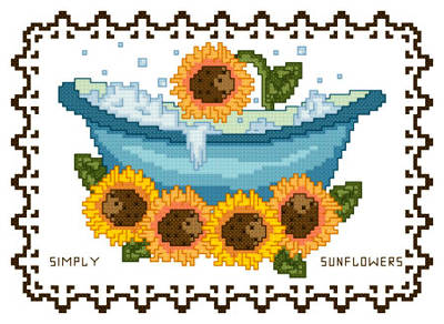 cross stitch pattern BathTub Collection Simply Sunflowers