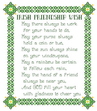 cross stitch pattern Irish Friendship Wish