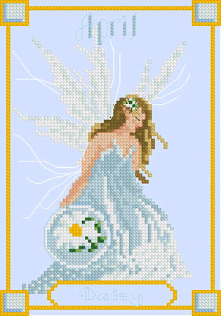 cross stitch pattern April Daisy Fairy