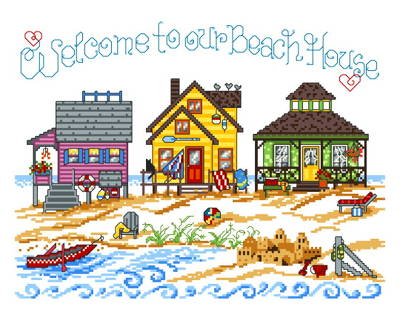 3 beach houses cross stitch pattern seaside for Beach house embroidery design