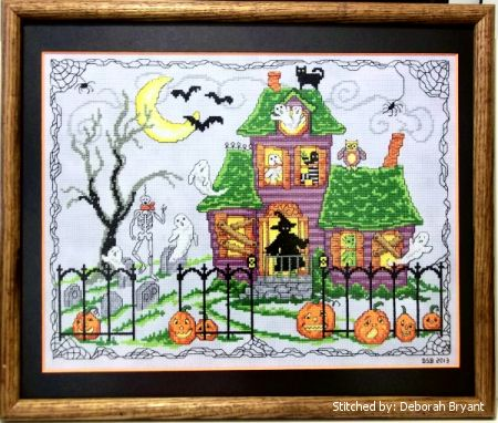 cross stitch pattern Halloween House