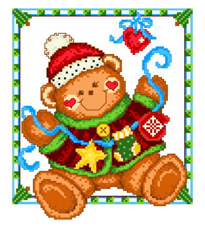 cross stitch pattern Holiday Teddy