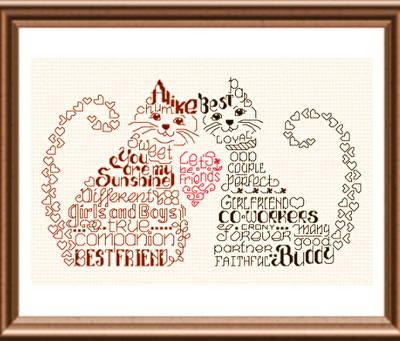 Let's Be Friends Cross Stitch Pattern words
