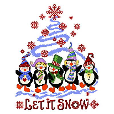 Penguin Holiday Cross Stitch Pattern snow