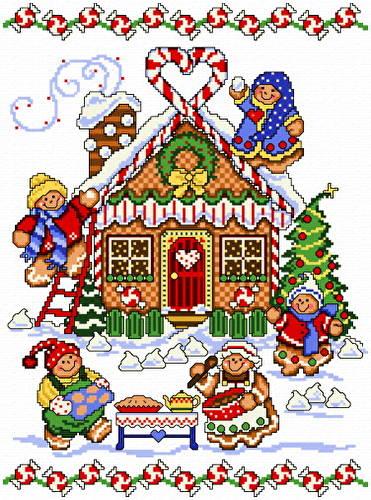 gingerbread house cross stitch pattern christmas