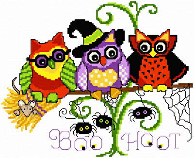 Small Halloween Cross Stitch Patterns Halloween Hoots Cross Stitch
