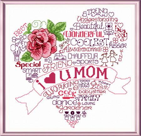 Let S Love Mom Cross Stitch Pattern Words