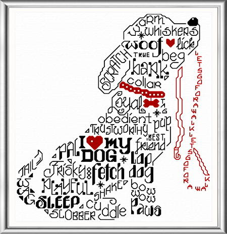 cross stitch pattern Let's Bark