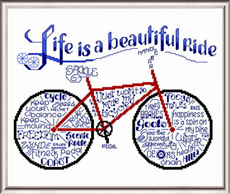 Let S Ride Bicycles Cross Stitch Pattern Words