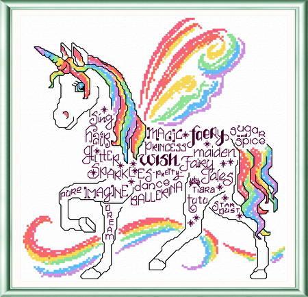 Let's Unicorn Cross Stitch Pattern words