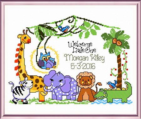 Jungle Babies Birth Record Cross Stitch Pattern Baby