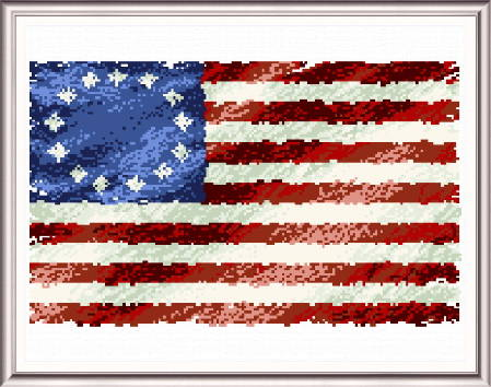 Vintage American Flag Cross Stitch Pattern Flags