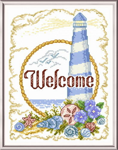 Coastal Welcome Cross Stitch Pattern Seaside