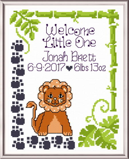 cross stitch pattern Lucky Lion Birth record