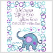 cross stitch pattern Lyllian Elephant Birth record