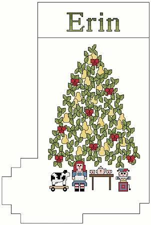 cross stitch pattern Pear Tree Christmas Stocking